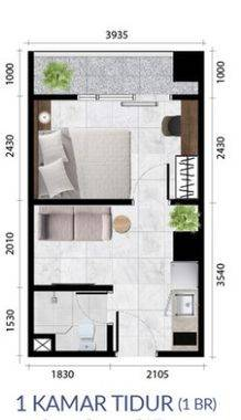 Anwa Residence Tipe 1 Bedroom Denah