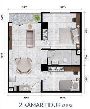 Anwa Residence Tipe 2 Bedroom Denah