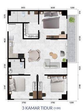 Anwa Residence Tipe 3 Bedroom Denah